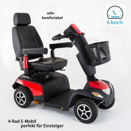 Elektromobil Invacare Orion Metro-6, 4-Rad-E-Mobil, 6 km/h, Rot, Seniorenmobil perfekt für Einsteiger