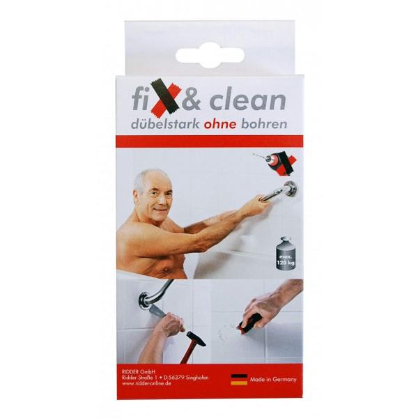 Fix & Clean, klebt wie gedübelt ! Vergessen Sie Bohrlöcher in den Fliesen!