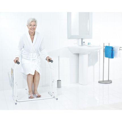 WC-Aufstehhilfe mobil inkl. Ablagekorb bis 150kg belastbar, Farbe weiss