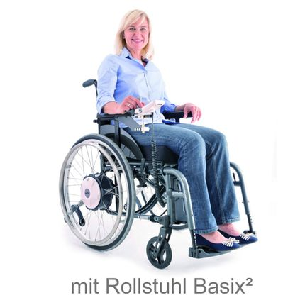 Alber E-Fix E35 elektrischer Zusatzantrieb, inklusive Leichtgewicht-Rollstuhl Basix2, fertig vormontiert