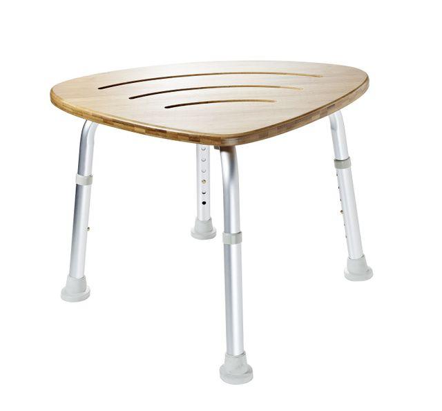 Bad-Hocker mit Holzsitzfläche (Bambus) höhenverstellbar, bis 150kg, rutschsichere Füße