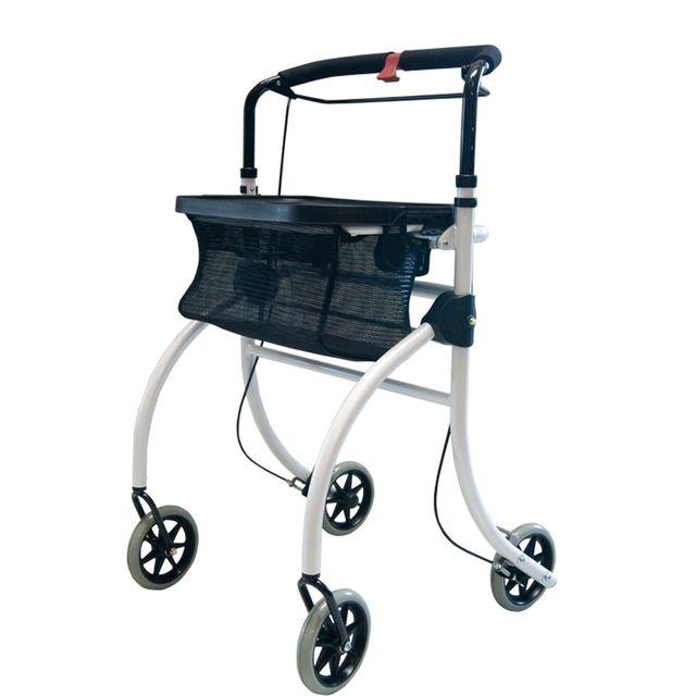 Drive Roomba Wohnungsrollator, Indoor-Rollator, der sportliche Begleiter für zu Hause, weiß, mit Tablett & Netztasche