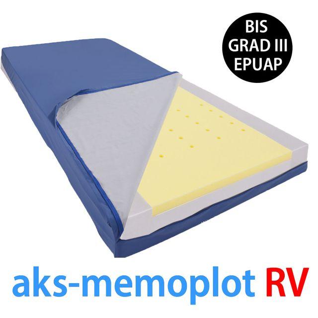 AKS Memoplot RV Matratze, Antidekubitus-Weichlagerungsmatratze, bis Grad III, Liegefläche Visco-Schaumstoff mit Klimaöffnungen, zusätzlich mit Randzonenverstärkung, inko-air-Matratzenhülle, bis 120kg