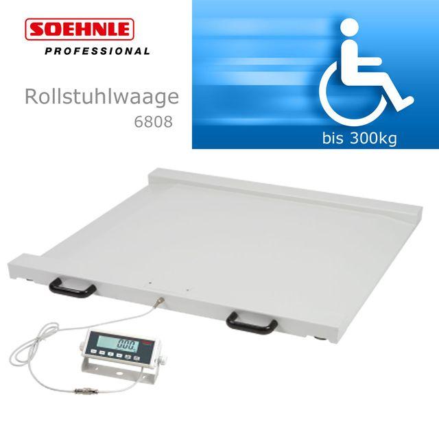 Soehnle Rollstuhlwaage 6808, Digital mit LCD-Display, integrierte Auffahrrampen, 4-Funktionen: Wiegen-Tarieren-Hold-BMI, Transportabel durch Rollen und Tragegriffe, bis 300kg,