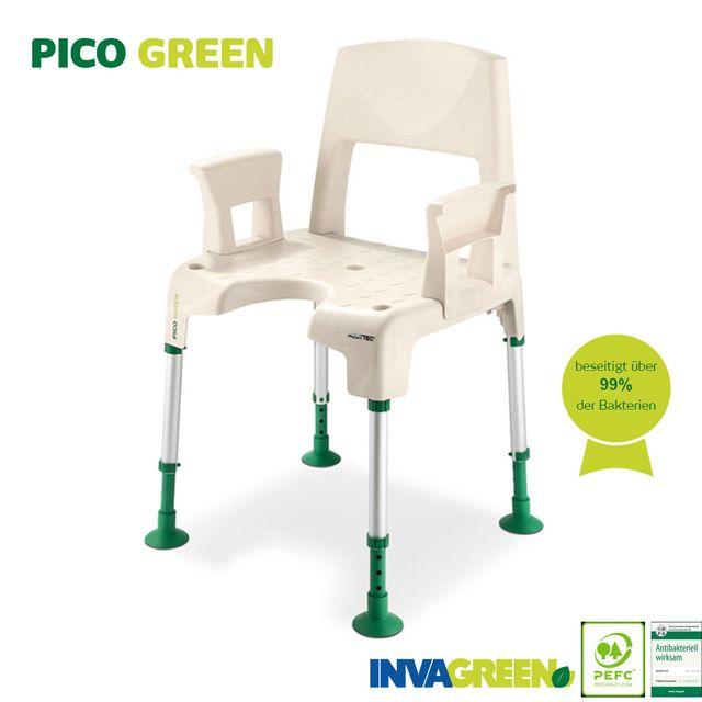 Aquatec Pico Green Duschstuhl komplett, Duschhocker mit Rücken- und Armlehnen, mit Holzanteil und natürlich antibakterieller Wirkung, sicher und umweltfreundlich Duschen (neu ab Dezember 2020)