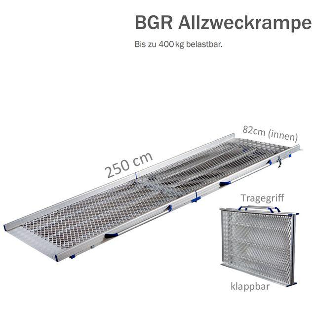 Feal BGR Allzweckrampe VR25, klappbar, Länge 250cm (130cm geklappt), bis zu 400kg, Innenbreite 82cm, Vollrampe aus extra stabilem Streckmetall, Gewicht 23kg, mit Griffen und Sicherheitsverriegelung