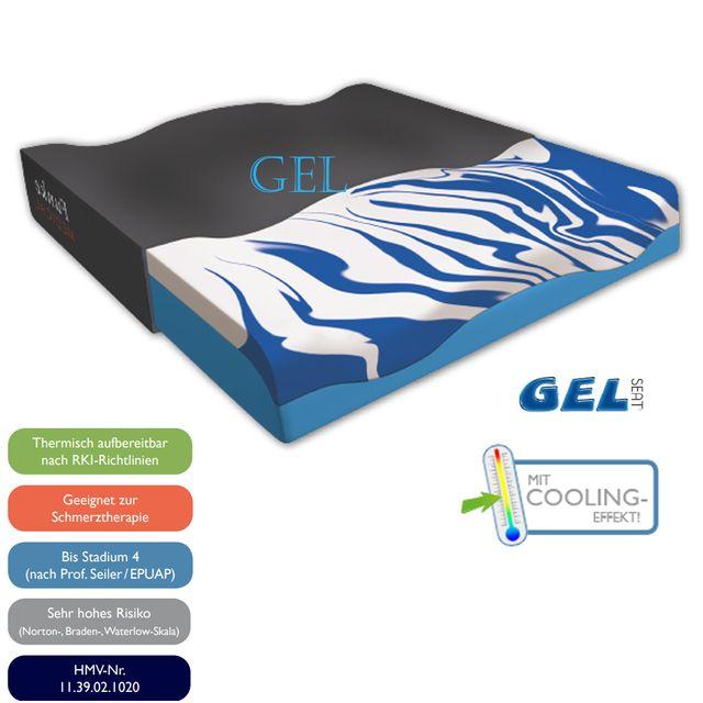Funke GELseat Anti-Dekubitus Sitzkissen, Therapie bis Grad 4 (EPUAP), Hybridkissen = Gelkissen + Visco-Schaum, anatomisch geformt, 20-120 kg