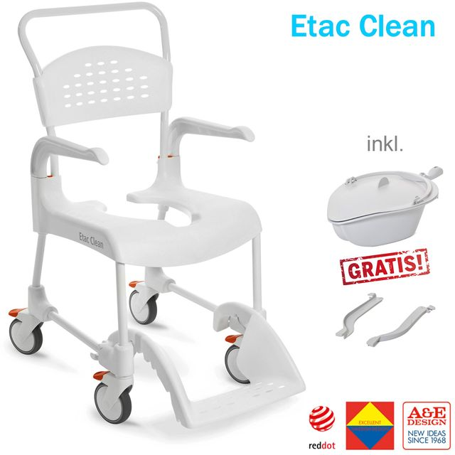 """AKTION = Etac Clean 5"""" Schiebe Dusch- und Toilettenstuhl Aktionsset inkl. Halterung und Becken, weiss, SH49 (lieferbar ab 21.04.2021)"""