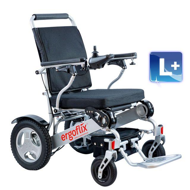 """ergoflix L plus Elektrischer faltbarer Rollstuhl, bis 160kg, SB 53, mit großen 12""""-Rädern, inkl. Sitzkissen 10cm, inkl. 2x Akku"""