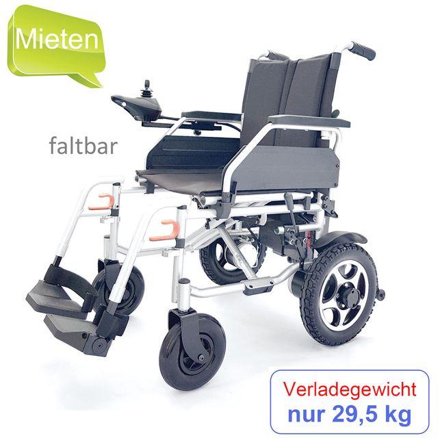 MIETEN = Campus Elektrorollstuhl, faltbarer Rollstuhl, Reiserollstuhl, Faltrollstuhl, Rücken klappbar, 6 km/h, bis 100 kg