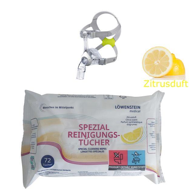 Löwenstein Spezial-Reinigungstücher Zitrus (frischer Zitrusduft), neu im Flow Pack á 72 Stück, 14x19cm, Nachfolgeprodukt der CPAP-Reinigungstücher-Dose