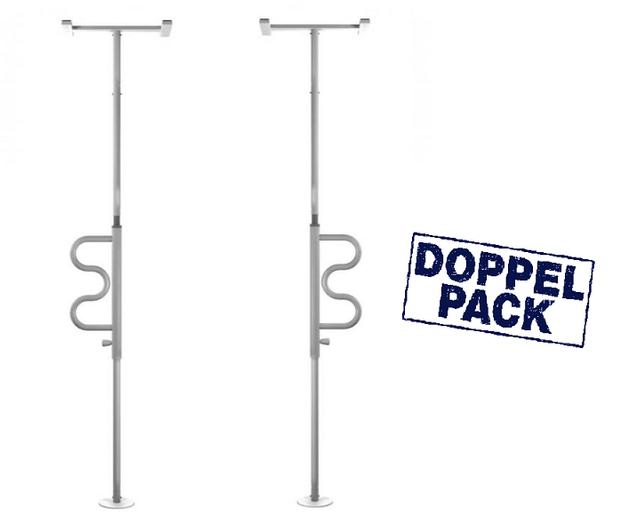 Duo-Pack = Boden-Deckenstange POLE kein Schrauben nötig, drehbarer Griff, Bad- & Wohnungs-Haltegriff ohne bohren, flexibel einsetzbar (2 Stück)