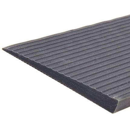 Mobilex Voll-Gummirampe, Gummirampe, Türschwellenrampe, grau, ohne Klebstoff 001