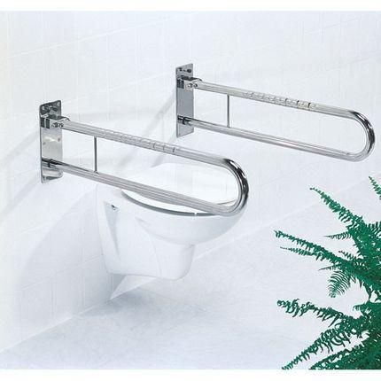 FRELU-Sicherheits-Stützklappgriff in 600, 700, 850mm Länge und/oder Toilettenpapierhalter