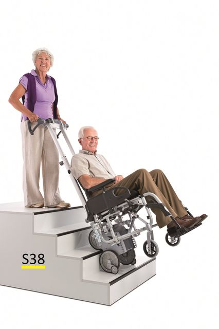 Alber Scalamobil S38 Treppensteiger, für hohe Stufen bis 25cm Komplettpreis inkl. Faltrollstuhl im Set, fertig vormontiert & fahrbereit, auf Wunsch inkl. Einweisung