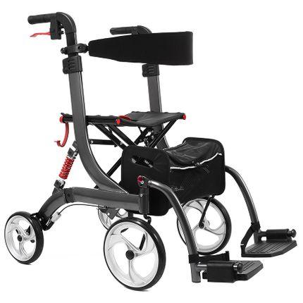Bescomed Spring VARIO-M, Rollator & Rollstuhl, graphitgrau, 2in1, Alu Leichtgewichtsrollstuhl, neue Serie, inkl. Beinstützen und Komfort-Rückengurt