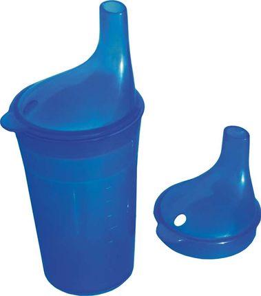 Trinkbecher blau, mit Tee- und Brei-Aufsatz, ca. 250 ml