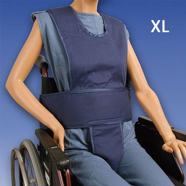 Biocare Komplett Klett, XL blau, Sicherungssystem für Hüfte, Oberkörper & Becken, Patientensicherungsystem im Rollstuhl