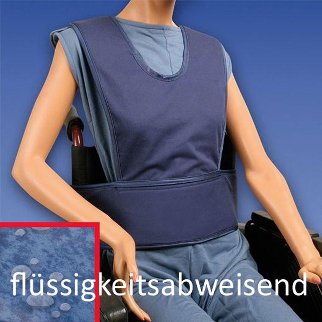 Biocare Standard Klett, flüssigkeitsabweisend blau, Sicherungssystem für Hüfte und Oberkörper, Patienten-Gurt Rollstuhl