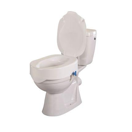 Toilettensitzerhöhung Rehotec mit Deckel, 15cm (extra hoch) bis 180kg belastbar, einfache Montage ohne Wekzeug