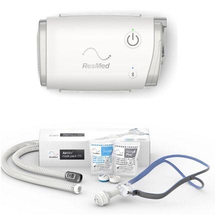Resmed AirMini AutoSet inkl. P10 Set mit Pillow-Maske & Schlauch, mobiles Therapiegerät mit Netzteil und Transportbeutel, AirMini APAP und CPAP Reisegerät (Komplettpreis)