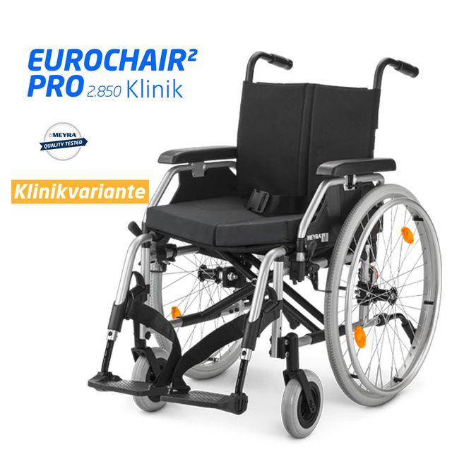 NEU: Meyra Eurochair 2 PRO KLINIK Rollstuhl, Alu-Leichtgewicht, Kinikversion inkl. Trommelbremse, Kunstleder, Faltfixierung, Diebstahlsicherung, Beinstütze hochschwenkbar, Stützrollen, uvm.