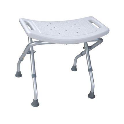 RFM Duschbank faltbar, Aluminium, der leichte und platzsparende Duschhocker, Sitz gewölbt, höhenverstellbar 39-44 cm, bis 120kg belastbar