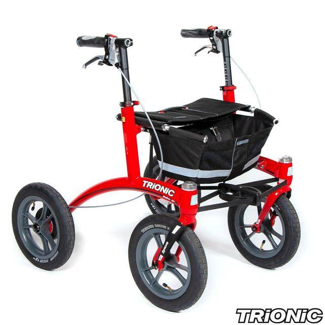 Trionic Rollator Walker 12er Rot (Körpergröße 142-172cm ; Griffhöhe 71-86cm) schwarz/schwarz/grau