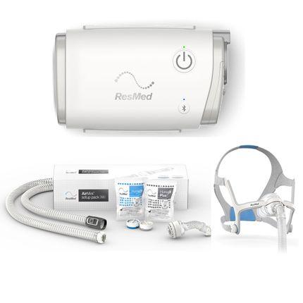 Resmed AirMini AutoSet inkl. N20 Set mit Nasen-Maske (Größe M) & Schlauch, mobiles Therapiegerät mit Netzteil und Transportbeutel, AirMini APAP und CPAP Reisegerät (Komplettpreis)