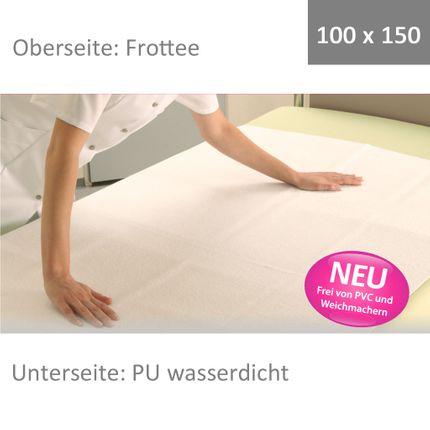 Wewa Flor 100x150, Frottee Bettschutzauflage, Matratzenschutz mit PU Unterseite, bei Inkontinenz der optimale Schutz, Mehrweg-Inko-Auflage