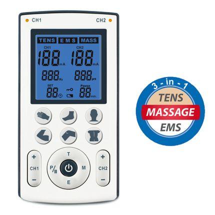 TENS-EMS-Massage Kombi Gerät TENS250, Elektrostimulation, 2 Kanal, 6 Direktbuttons, inkl. Clip, 2 Pack Klebeelektroden 40x40 (8 Stück)