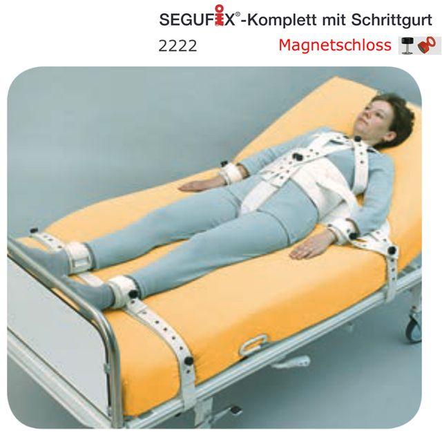 Segufix Komplett 5-Punkt-Fixierung von Patienten im Bett,  mit Schrittgurt und Magnetschloss-System, inkl. Schultergurt, Handgurte & Fußgurte, Größen S,M,L, schwer entflammbar