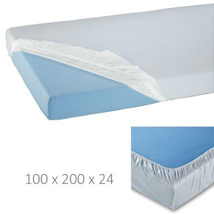 Spannbett-Tuch Jersey, Oberseite 100% Baumwolle, Unterseite beschichtet, wasserundurchlässig, atmungsaktiv, 100x200x24cm, mind. 100x waschbar