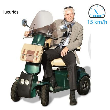 Elektromobil Meyra Cityliner 415 E-Mobil Racing Green 15 km/h, das luxuriöse Seniorenmobil mit Sitzheizung