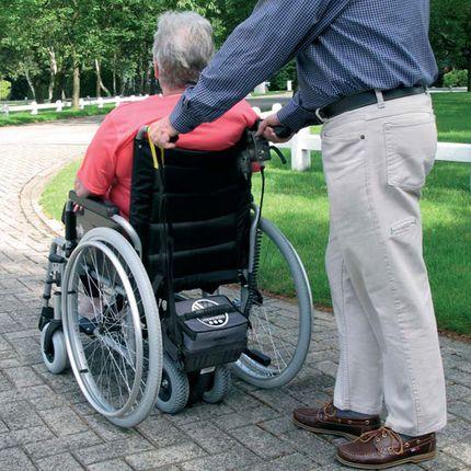 Schiebehilfe V-Drive mit Rollstuhl, komplett fertig vormontiert, Elektromotor mit Vermeiren Falt-Rollstuhl D100